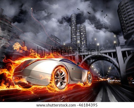 Burnout. Concept car. My own car design. Not associated with any brand. - stock photo