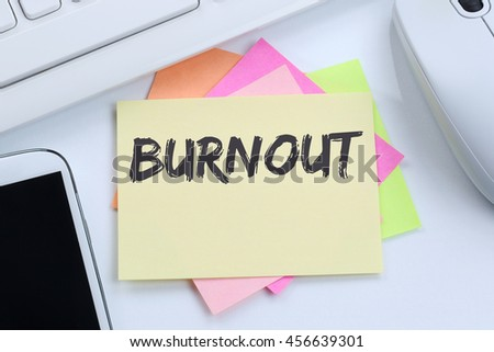 Burnout ill illness stress stressed at work business concept desk computer keyboard - stock photo