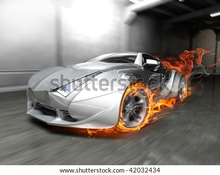 Burnout. My own car design. Not associated with any brand. - stock photo