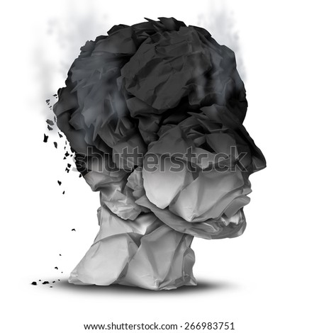 Burnout overworked concept and work stress symbol for a psychological emotional disorder diagnosis as a human head made of burnt office paper on a white background. - stock photo