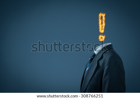 Burnout syndrome metaphor. Businessman with exclamation mark in fire instead of head.