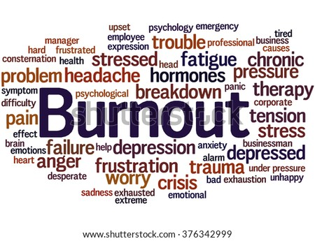 Burnout, word cloud concept on white background.