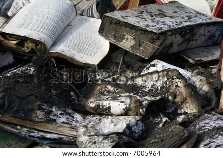Burnt Books - stock photo