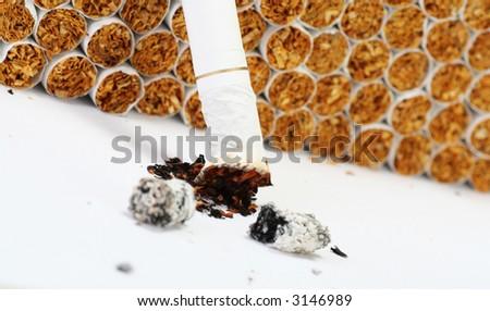 burnt cigarette, narrow focus - stock photo