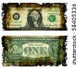 Burnt Dollar Bill Front And Back Illustration From Photographed Real Money - stock photo