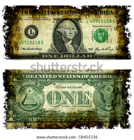 Burnt Dollar Bill Front And Back Illustration From Photographed Real Money