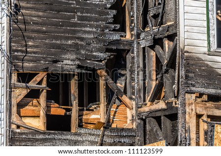 Burnt Exterior Wall of Building - stock photo