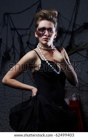 Burnt glamorous girl, Halloween party - stock photo