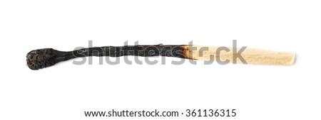 Burnt match stick isolated - stock photo
