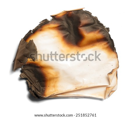 burnt paper from a fire - stock photo