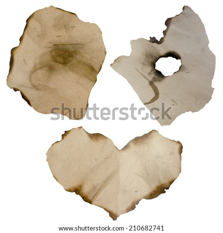 burnt paper isolated - stock photo