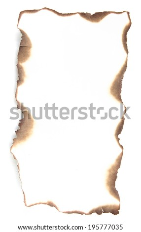 Burnt paper isolated on white - stock photo