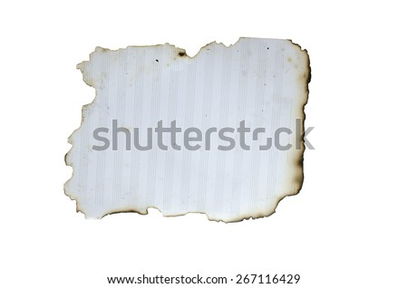 burnt paper isolated on white background - stock photo
