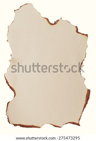 burnt paper isolated on white background
