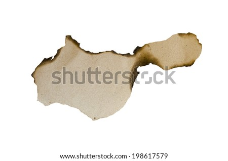 burnt paper isolated over white background - stock photo