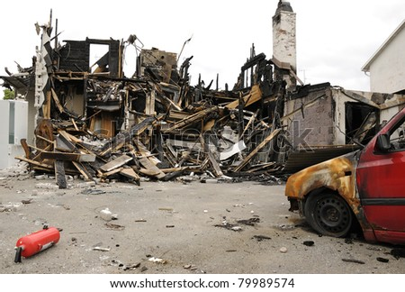 Burnt place - stock photo