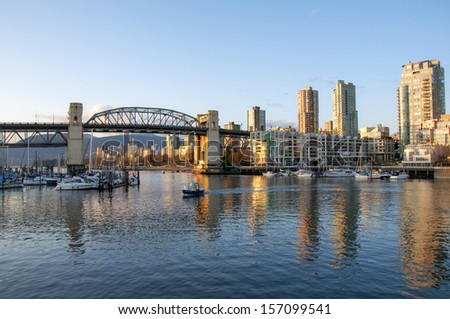Burrard Bridge & False Creek at sunset, Vancouver