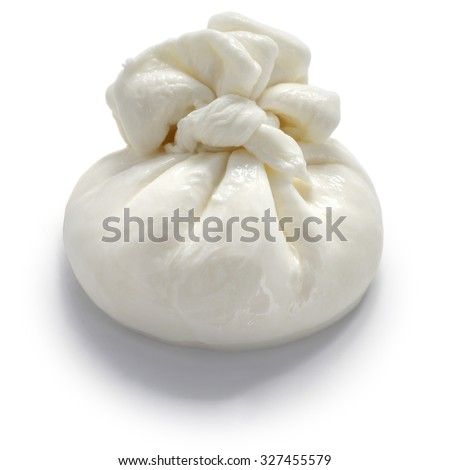 burrata, fresh italian cheese made from mozzarella and cream.