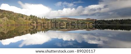Burrator Reservoir Landscape. Taken on a still autumnal morning in October 2011. - stock photo