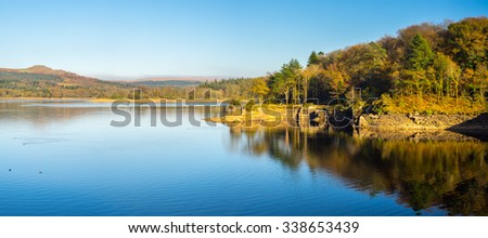 Burrator Reservoir on Dartmoor National Park one of the reservoirs supplying drinking water to the city of Plymouth Devon England UK Europe