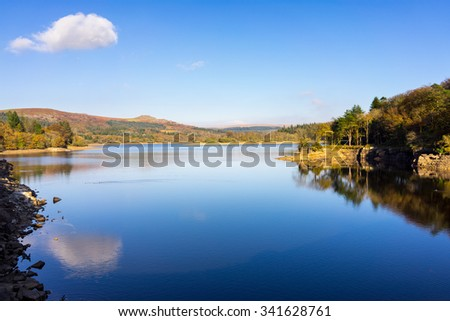 Burrator Reservoir on Dartmoor National Park one of the reservoirs supplying drinking water to the city of Plymouth Devon England UK Europe - stock photo
