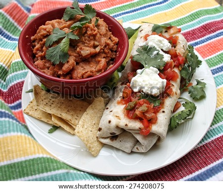 Burrito Plate with  beans and salsa - stock photo