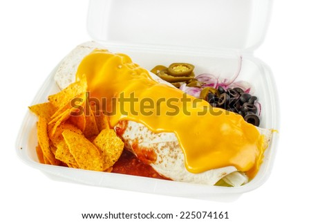 Burrito with cheese sauce portion form fast food service - stock photo