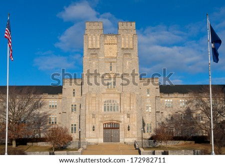 Burruss Hall at Virginia Tech - stock photo