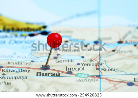 Bursa pinned on a map of europe  - stock photo