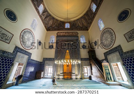 Bursa, Turkey - April, 28 2015: Interior view from Green Mosque on  April, 28th 2015. Green Mosque (Trukish: Yesil Cami) is one of the most important landmark of Bursa.