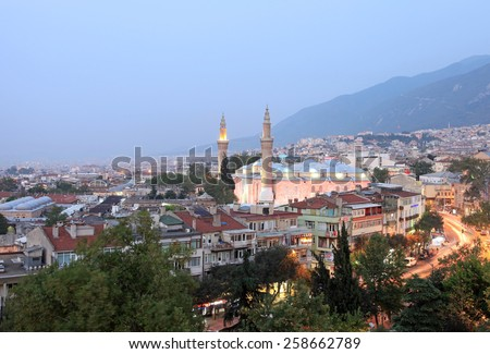 BURSA, TURKEY - AUGUST 14 : General view of Bursa City on August 14, 2013 in Bursa, Turkey. Bursa is 4th biggest city in Turkey and it was the capital of the Ottoman State between 1326 and 1365.