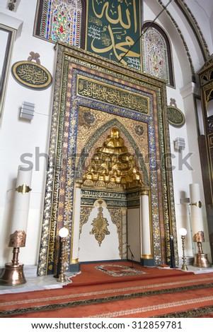 BURSA,TURKEY, AUGUST 17,2015: Interior detail from Ulu Cami (Grand Mosque of Bursa) built in the Seljuk style, it was ordered by the Ottoman Sultan Bayezid I and built between 1396 and 1399.