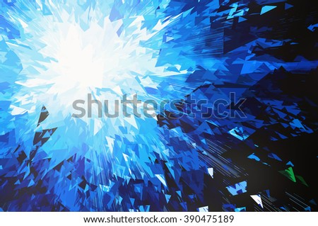 burst of blue planet Broken smithereens - stock photo