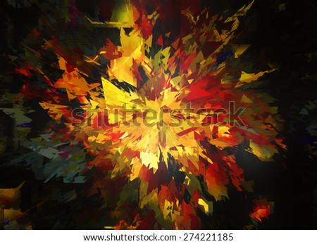 burst of broken star on black backgrounds - stock photo