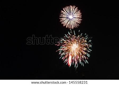 bursts of fireworks - stock photo