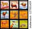 BURUNDI - CIRCA 1964: A set of postage stamps printed in BURUNDI shows fauna of the Black Sea, series, circa 1964 - stock
