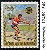 BURUNDI - CIRCA 1972: A stamp printed in Burundi dedicated to the Munich Olympics, shows discus throw, circa 1972 - stock photo