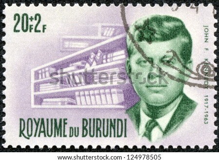 BURUNDI - CIRCA 1972: A stamp printed in Burundi shows John F. Kennedy, circa 1972 - stock photo