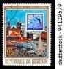 BURUNDI - CIRCA 1960: A stamp printed in BURUNDI , 60 years of revolution in USSR, 12 Olympic Games Ski jumping in  water, circa 1960 - stock photo