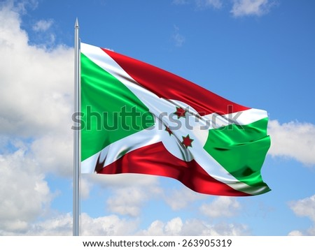 burundi 3d flag floating in the wind with a blue sky in the background - stock photo