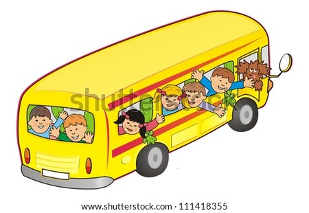 bus and children - stock photo