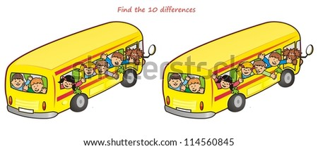 bus and children-10 differences - stock photo