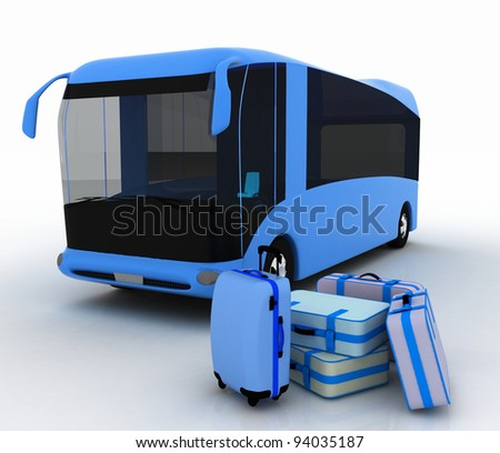 Bus and luggage on a white background - stock photo