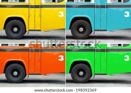 Bus, Autobus, School bus side view, wing with a wheel, Blue bus. Multicolored - stock photo