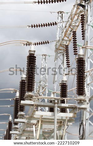 Bus bar and supporting Equipment in Switchgear. - stock photo