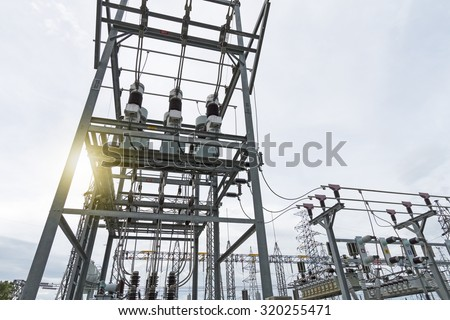 Bus bar,auto transformer,supporting and Equipment - stock photo