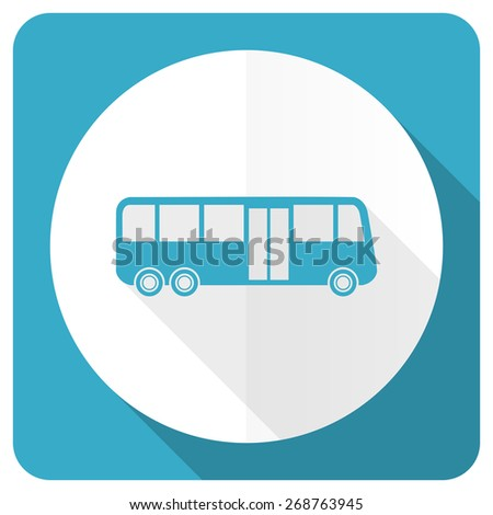 bus blue flat icon public transport sign  - stock photo