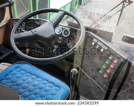 Bus driver cabin - stock photo