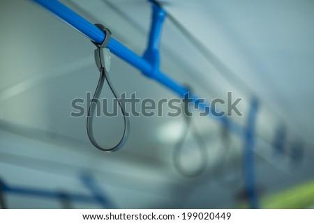 Bus handrail. Bus holders - stock photo