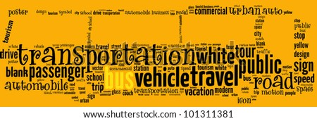 Bus info-text graphics and arrangement concept (word cloud) - stock photo